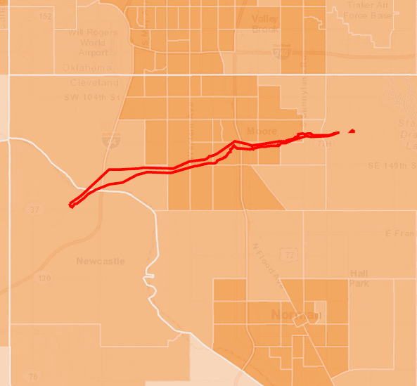 Figure 2. Map shows Census tracts in orange extending mostly outside of tornado impact area (outlined in red) in Moore Oklahoma (from ArcGIS Online web map at:http://bit.ly/1atvA04).