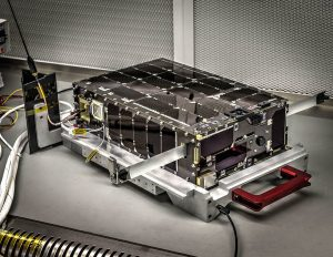 Dellingr is a six-unit (6U) CubeSat, meaning its volume is approximately six liters. The satellite's exterior is lined with solar panels. (Credit: NASA's Goddard Space Flight Center/Bill Hrybyk)