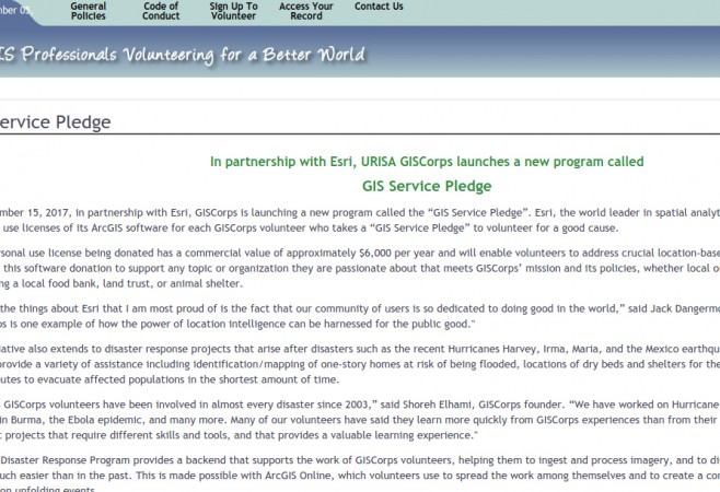 Esri Donating Software Licenses to URISA GISCorps Volunteers